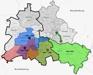 Übersichtskarte der Standorte von Wagen 1558 innerhalb Berlins.